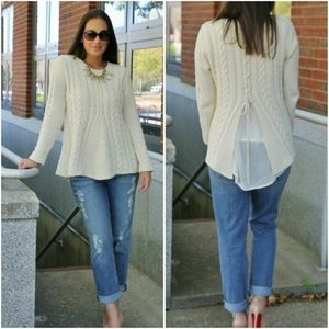 Cabi 3157 Cable Knit Sweater Top Size S Ivory Lace